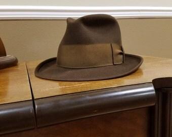 Brown felt hat by Dobbs, size medium