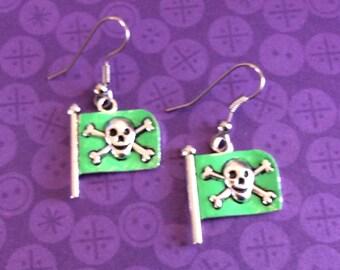 Pirate flag earrings. Skull earrings. Skull and Crossbones earrings. Goth earrings. Cyberpunk earrings. Pirate ship earrings. Skull charms
