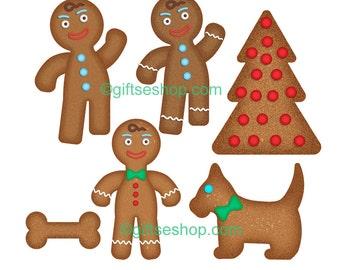 Clipart Gingerbread Men- Gingerbread Clipart- Gingerbread Man Cookies- Gingerbread Man Clipart- Clipart Christmas- Clipart Cookies