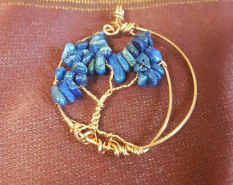 Blue Moon Lapis Lazuli Copper Wire Wrapped Tree of Life