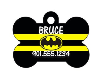 Batman Pet Id Tag for Dogs and Cats Personalized w/ Name & Number