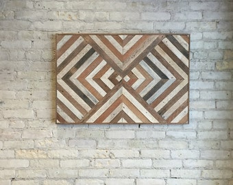 Reclaimed Wood Wall Art, Decor, Lath, Triangles, Diamond, Geometric 36 x 24