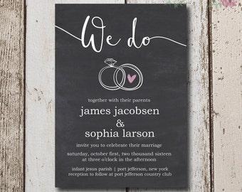 Rustic Wedding Invitation Instant Download, Rustic Wedding Invitation, Chalk Invitation, Simple Invites, DIY Invitation, Wedding Invite