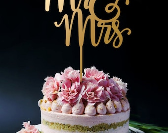 Wedding Cake Topper, Mr and Mrs Cake Topper Custom colors