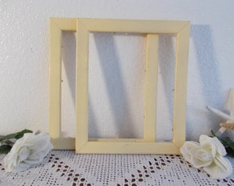 Yellow Picture Frame 8 x 10 Set Photo Decoration Rustic Shabby Chic Distressed Vintage Wood Country Farmhouse Nursery Home Decor Gift