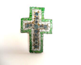Mosaic cross,  handmade art,  wall hanging, one of a kind,