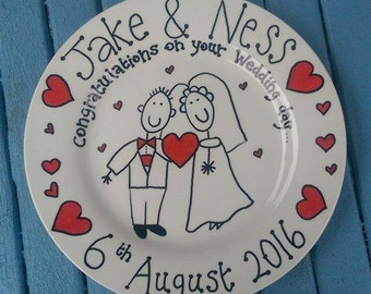 Wedding bride and groom Plate. Unique gift. Wedding gift