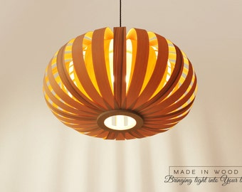 Modern pendant lamp from ash and birch. XL (Large model) - Lampshade Lighting Patio Hanging Light ceiling light