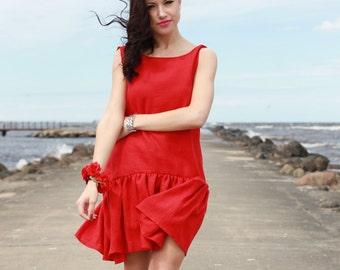 Red  Linen Dress With Frill Summer Dress Handmade