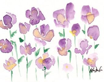 Floral Illustration print: Purple Yellow Flowers