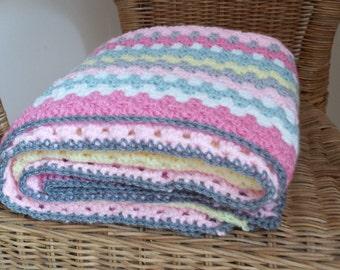Crochet granny stripe baby girl blanket
