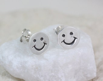 Sterling silver happy face earrings, 925 sterling silver smiley face earrings, silver smiley face stud earrings, emoji earrings