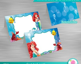 Little Mermaid Food Tent Cards Print Yourself, Little Mermaid Birthday, Little Mermaid Party, Little Mermaid Printable Food Tent Cards DIY