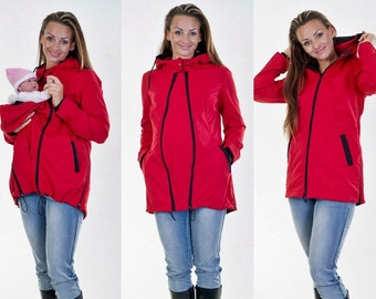 Baby wearing maternity jacket 3 in 1 jacket red all weather jacket