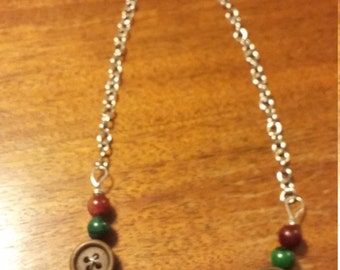 Brown, Red, Green, Mood (Color Changing) Button Necklace