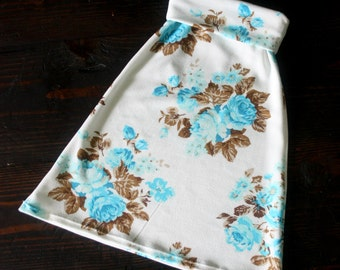 Bright Blue on Cream Floral Toddler Maxi Skirt