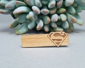 Superman Tie Bar - Laser Engraved Alder Wood - Clark Kent Tie Clip