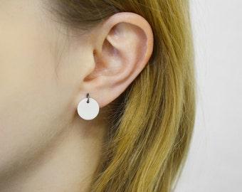 Disc. Porcelain earrings, black silver. Minimalist earrings, oxidized silver studs. Ceramic earrings