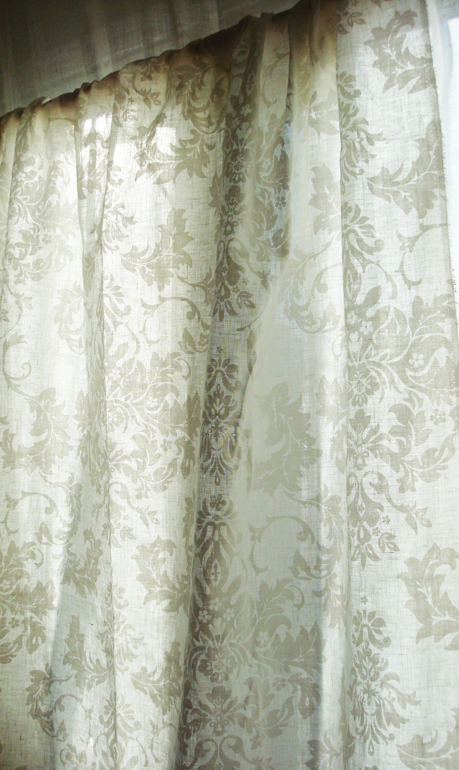 White Airy Linen Curtain Panels Linen Curtains Linen Drapes