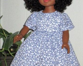 "18"" ag blue nd white short seeve doll dress, bue and white floral doll dress, 3/4 length doll dress, white organza underskirt"