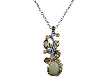 Opal Necklace, Opal Birthstone Necklace, Opal Jewelry, Silver Opal Necklace, Silver Jewelry, Opal Pendant Necklace, Birthstone Necklace