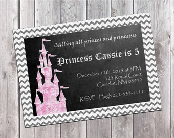 Princess Party Invitation, Princess Party Printable, Invitation Printable, Girl Birthday, Birthday party, Kids Invitation, Downloadable