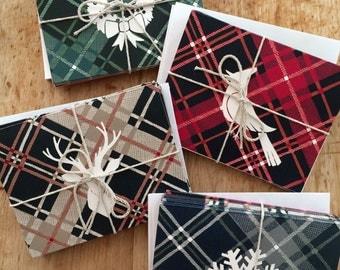 Plaid Christmas Card Set
