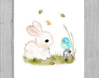 Childrens art, children's art, bunny illustration, bunny art, kids room decor, kids art, nursery art, children's illustration, nursery print