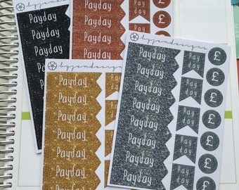 Payday Glitter Metallic Stickers, Planner Stickers, for use with any planner, journal, calendar or diary