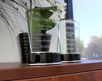 Custom Glass Awards, Engraved Awards, Engravable Awards, Corporate Awards, High Quality Engraved Awards for employees, --Award-GLS-FiveStars