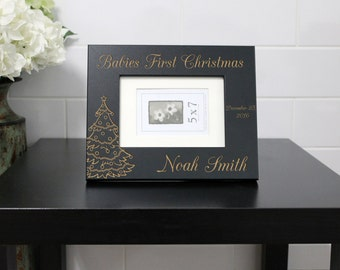 Baby Picture Frame, Baby Name, New Baby, Christmas Baby Picture Frame, Engraved Frame, Black Picture Frame --PF-BL-Babies First Christmas