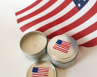 Citronella Candle/Set of two/ 6oz tins/ Soy wax/ 4th of July/ Memorial Day/ outdoor decor/ bug repellent/ Hand-painted/American Flag