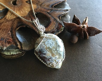 Crazy Lace Agate and Sterling Silver Pendant
