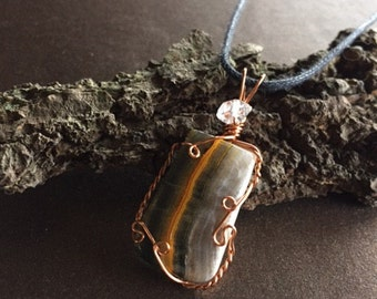 Bumble Bee Jasper and Herkimer Diamond Necklace