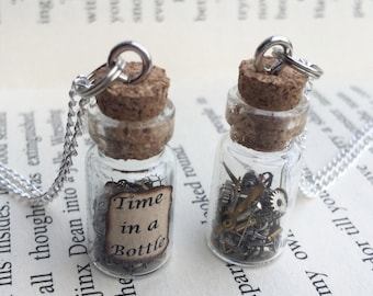 Time in a Bottle Necklace / Pendant / Bookmark / Earrings / Decoration / Keyring