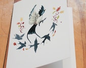 Swallow Bird with Autumn leaves - Blank Greeting card / Watercolor / Animal / Birthday card / Mothers Day card / Gift for mom