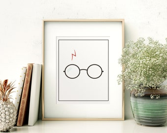 Harry Potter // Glasses // Scar // Printable // Minimalistic // Gallery Wall // Wall Decor // Home Decor