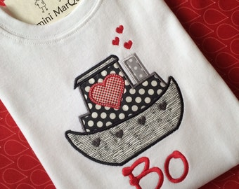 Valentine Tugboat Appliqued Tshirt or Onesie, Includes Embroidered Name