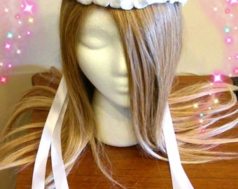 Flower Girl, Wedding Headpiece, White Ribbon, Adult Child, Bridal Hairpiece, Hair Garland, Renaissance Faire, Bride Accessory, Head Wreath
