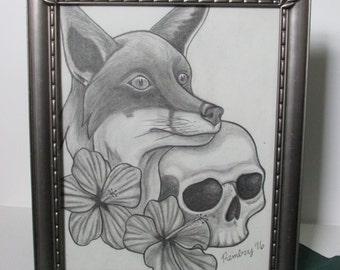 Fox and Skull 8x10 Original Framed Drawing