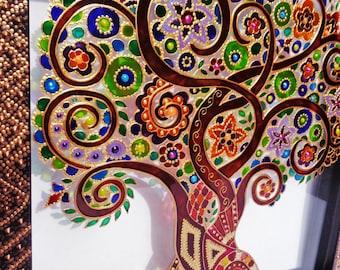 Tree of life art Glass painting Glass art
