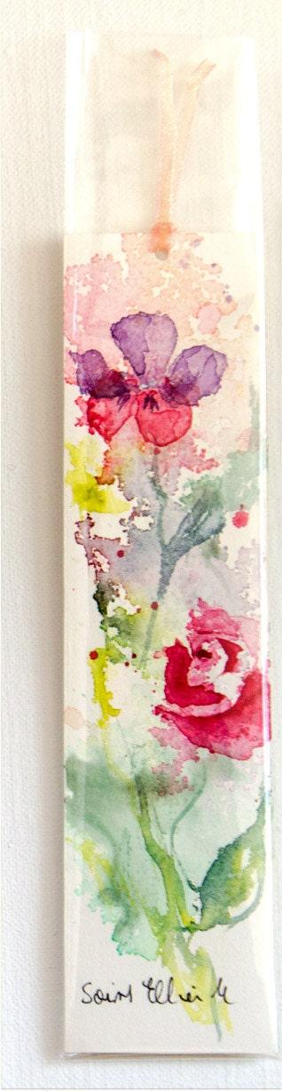 marque page aquarelle originale fleurs roses et violettes. Black Bedroom Furniture Sets. Home Design Ideas