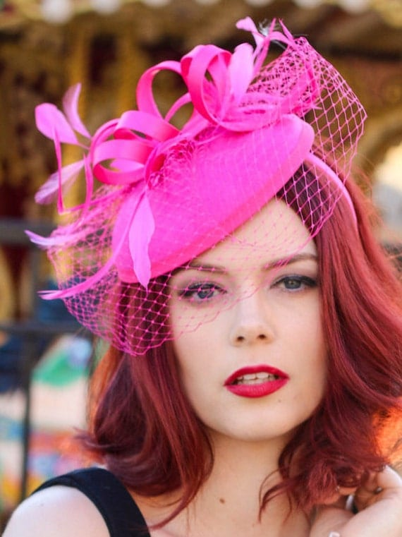 Hot Pink Fascinator with Veil Tea Party Hat Church Hat