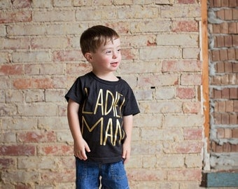 Ladies man shirt, boys clothes, graphic tee for boys, black and gold shirt, clothing for boys, trendy clothes for boys, boys shirt, fasion