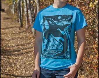 Orcinus Orca Whale T-Shirt--Hand-Pulled Woodcut Block Print