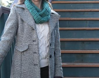 Turquoise Crochet Infinity Scarf