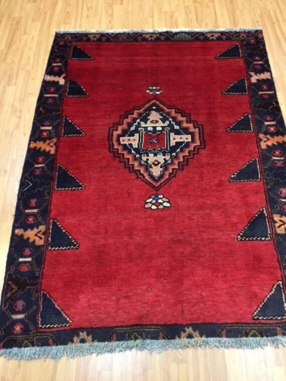 "4' x 5'6"" 1960s Persian Hamadan Oriental Rug - Hand Made - 100% Wool - Vintage"