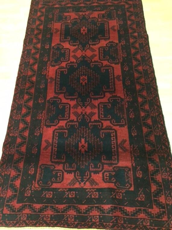 """3'5"""" x 6'4"""" Afghan Turkeman Oriental Rug - Hand Made - 100% Wool"""
