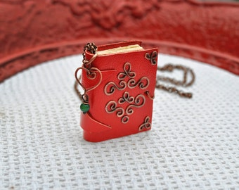 mini Book copper necklace Book necklace Tiny book Red leather journal necklace Book pendant necklace Heart wire pendant