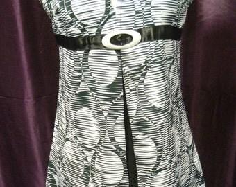 60's Black / White Patterned Gogo Dress